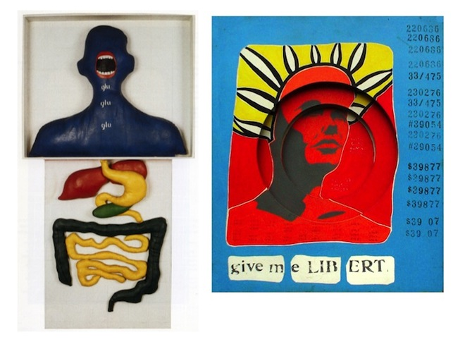 Image credits: Felipe Ehrenberg. Give Me Libert, 1969 (right) and Anna Maria Maiolino, Gulp Gulp Gulp, 1968 (left).