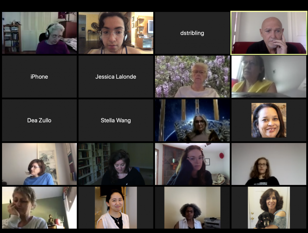 Screenshot of a Zoom Meeting for the Expressive writing course. John Evans is in the upper right hand corner, and the lab manager, Cuquis Robledo, is on the top row, second column.
