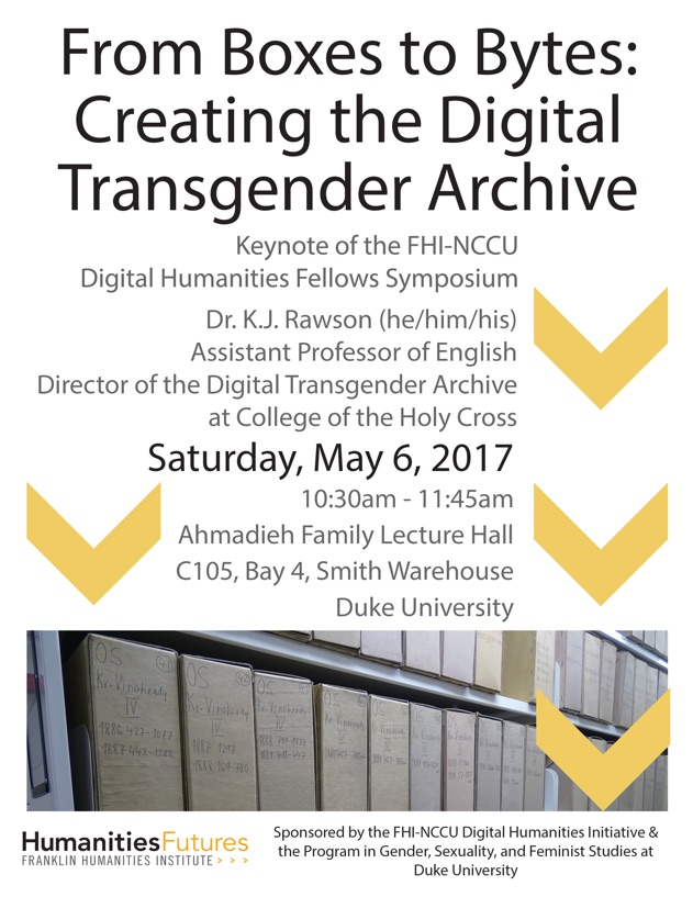 Flyer for 2017 FHI-NCCU Fellows Symposium - mostly conference info w/ yellow decorative chevrons and cropped image of archival boxes