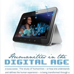 "Title page of NCCU Now alumni magazine article ""Humanities in the Digital Age,"" featuring photoshop image of fellow Lenora Helms Hammond in iPad"