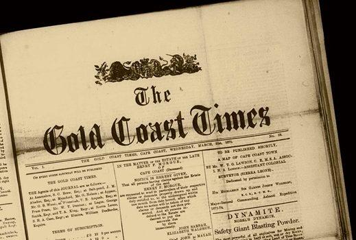 "Cropped photo of historic newspaper (yellowing newsprint), mainly masthead (""Gold Coast Times"") with small portions of news stories visible"