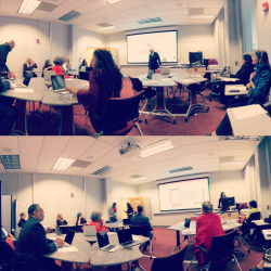 2 vertically stacked panoramas of new Digital Humanities Lab at North Carolina Central University... presenters in front of room with audience seated around
