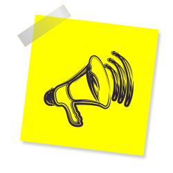 Graphic of megaphone on post-it with scotch tape in upper left corner - Creative Commons 4.0 BY-NC