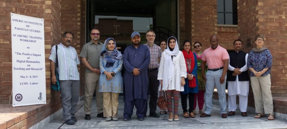 Group photo of NCCU faculty and Pakistani DH workshop participants at LUMS (Lahore University of Management Sciences)