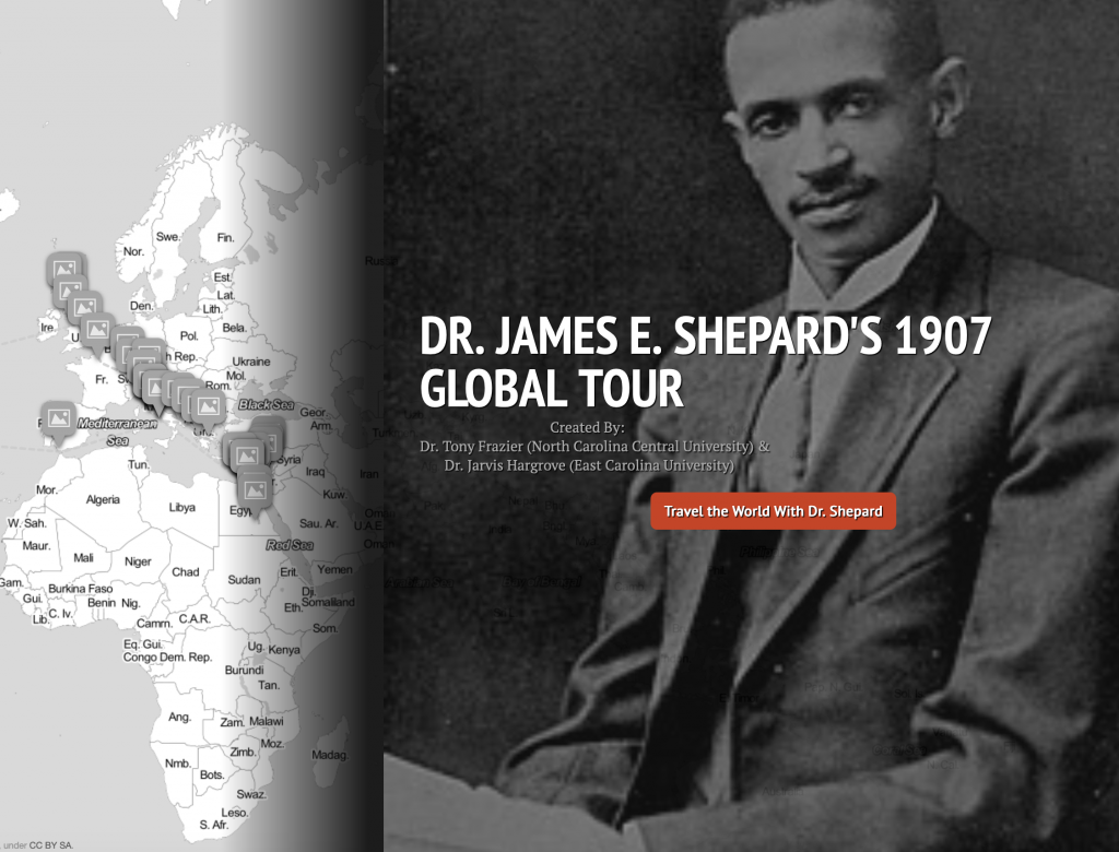 Screenshot of Dr. James E. Shepard digital map with map image on left and portrait of Shepard on right