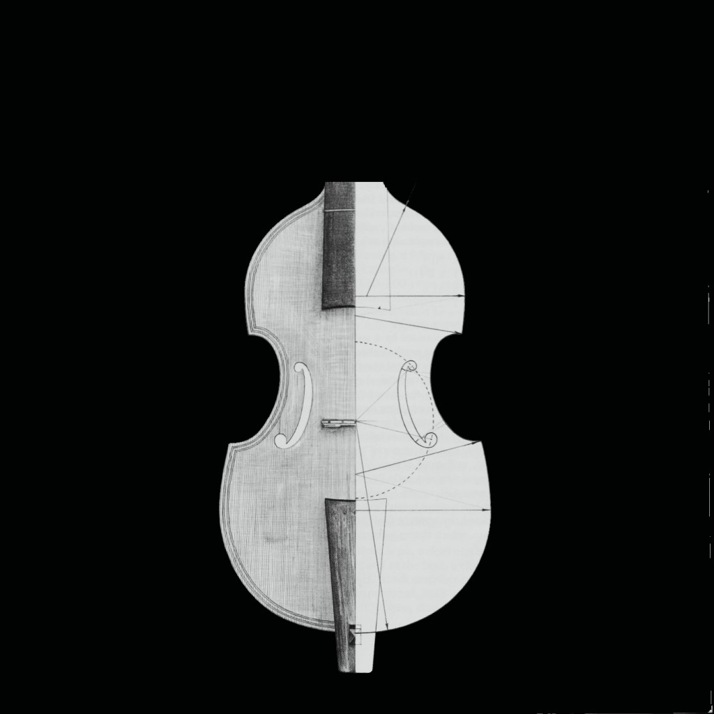 Line drawing of the Viol de Pardassus. The other half of the shape used for inspiration.