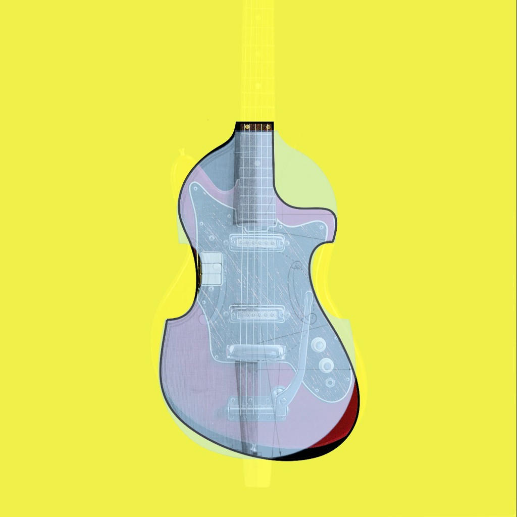 Composite image with the Viol de Pardassus, the Ibanez 882 and the outline at the same time.